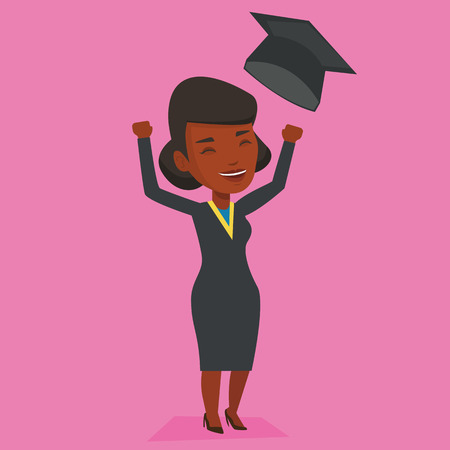 cloak: Excited graduate in cloak and graduation hat. An african-american graduate throwing up her hat. Cheerful female graduate with hands raised celebrating. Vector flat design illustration. Square layout.
