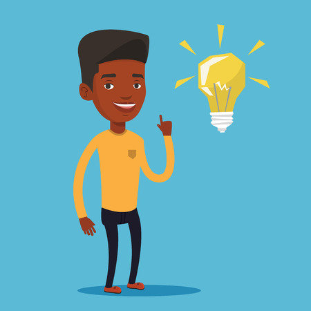 black man thinking: An african-american student pointing her finger up at the idea bulb. Young excited male student with bright idea bulb. Student having a great idea. Vector flat design illustration. Square layout. Illustration
