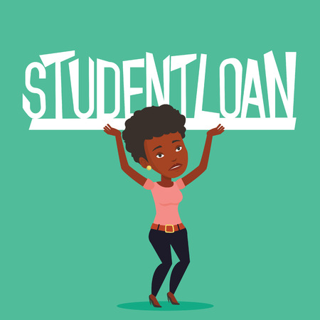 student loan: An african-american woman holding a heavy sign of student loan. Tired woman carrying heavy sign - student loan. Concept of the high cost of student loan. Vector flat design illustration. Square layout Illustration