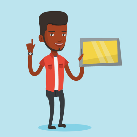 Student using a tablet computer. An african-american student holding tablet computer and pointing forefinger up. Concept of educational technology. Vector flat design illustration. Square layout. Illustration