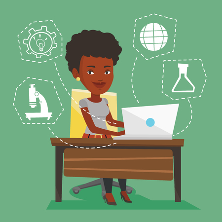 Student sitting at the table and working on laptop. Student working on laptop connected with icons of school sciences. Concept of educational technology. Vector flat design illustration. Square layout Illustration
