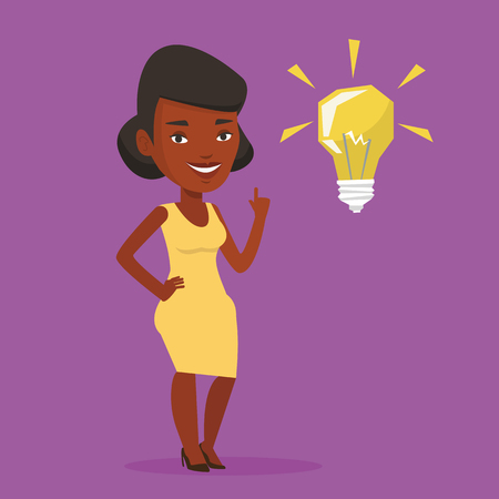 An african-american student pointing her finger up at the idea bulb. Young excited female student with bright idea bulb. Student having a great idea. Vector flat design illustration. Square layout. Illustration