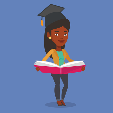 Graduate standing with a big open book in hands. African-american student in graduation cap reading a book. Student holding a book. Concept of education. Vector flat design illustration. Square layout Ilustração