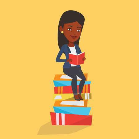student reading: Young african-american student sitting on huge pile of books. Happy student reading book. Smiling woman sitting on stack of books with book in hands. Vector flat design illustration. Square layout.