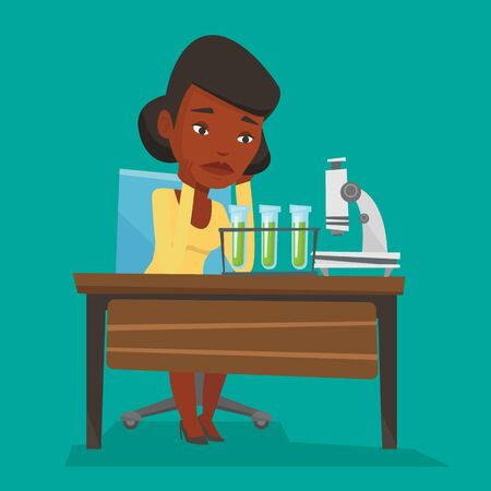 Disappointed student carrying out experiment in chemistry class. An african-american student clutching head after failed experiment in chemistry class. Vector flat design illustration. Square layout. Иллюстрация