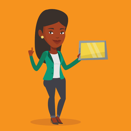 forefinger: Student using a tablet computer. An african-american student holding tablet computer and pointing forefinger up. Concept of educational technology. Vector flat design illustration. Square layout. Illustration