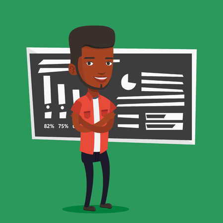 african teacher: An african-american male teacher standing in classroom. Smiling male teacher standing in front of chalkboard. Young teacher standing with folded arms. Vector flat design illustration. Square layout.