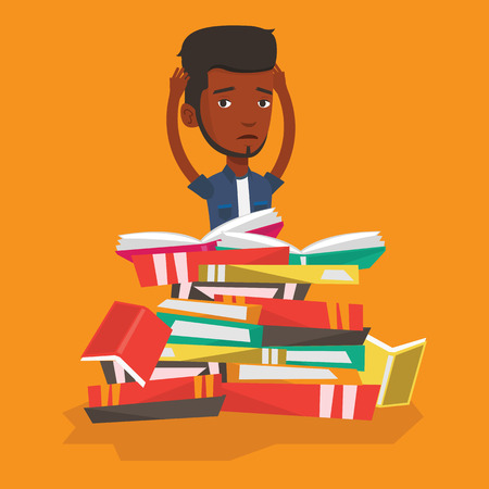 student reading: An african student sitting in huge pile of books. Exhausted student preparing for exam with books. Stressed student reading books. Concept of education. Vector flat design illustration. Square layout.