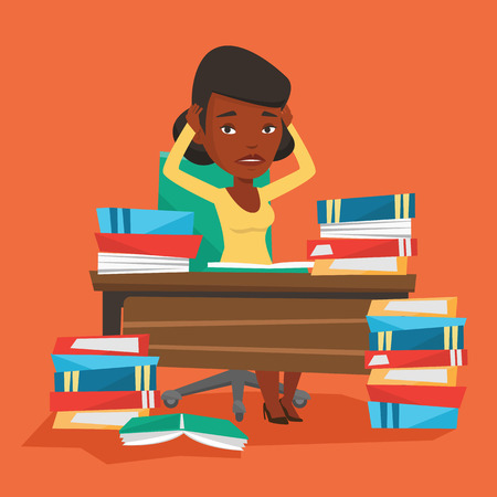 Young stressed student studying with textbooks. An african-american student studying hard before exam. Desperate female student studying in the library. Vector flat design illustration. Square layout. Çizim