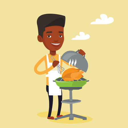 An african-american man cooking chicken on barbecue grill outdoors. Young smiling man having a barbecue party. Man preparing chicken on barbecue grill. Vector flat design illustration. Square layout. Illustration