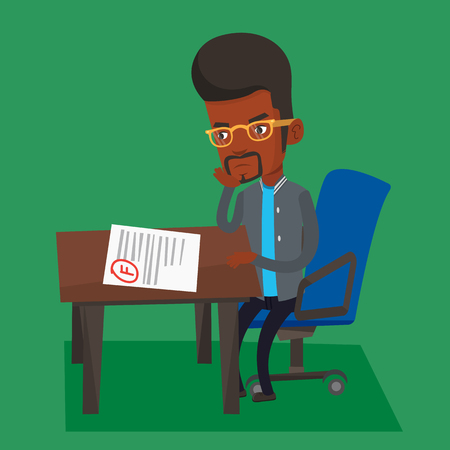 test results: Sad student looking at test paper with bad mark. An african-american student disappointed test with F grade. Student dissatisfied with the test results. Vector flat design illustration. Square layout. Illustration