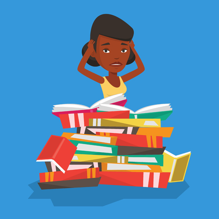 overload: An african student sitting in huge pile of books. Exhausted student preparing for exam with books. Stressed student reading books. Concept of education. Vector flat design illustration. Square layout.