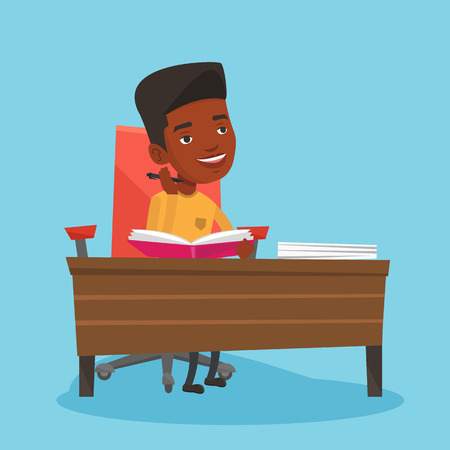 Young male african-american student sitting at the table and thinking. Thinking student writing in exercise book. Thinking male student doing homework. Vector flat design illustration. Square layout.