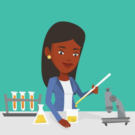 An african-american student carrying out laboratory experiment. Student working with microscope at laboratory class. Student experimenting in laboratory. Vector flat design illustration. Square layout Vector Illustration