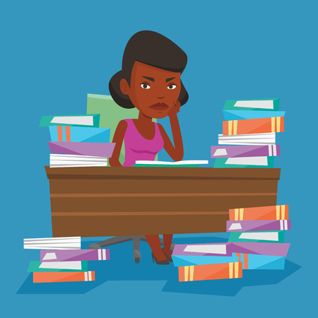 Young angry student studying with textbooks. An african-american annoyed student studying hard before the exam. Bored student studying in the library. Vector flat design illustration. Square layout