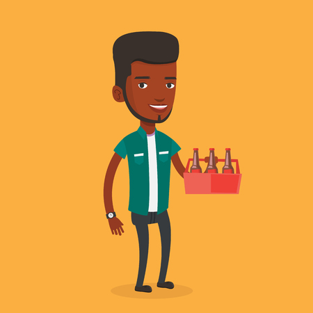 six pack: Young happy man holding pack of beer. Full length of cheerful man carrying a six pack of beer. An african-american smiling man buying beer. Vector flat design illustration. Square layout.