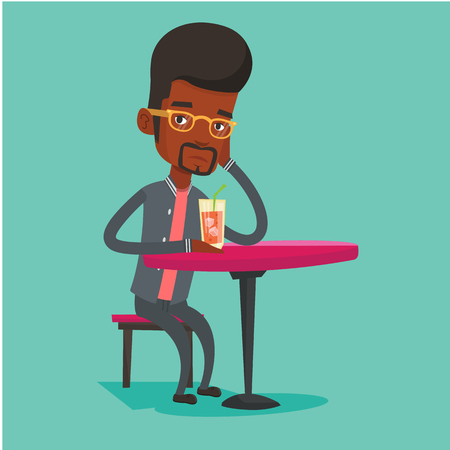 alcohol abuse: African-american man sitting in bar and drinking cocktail. Young sad man sitting alone in bar with cocktail on the table. Man drinking cocktail in bar. Vector flat design illustration. Square layout.