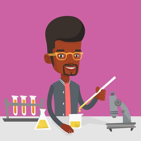An african-american student carrying out laboratory experiment. Student working with microscope at laboratory class. Student experimenting in laboratory. Vector flat design illustration. Square layout
