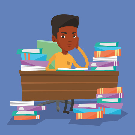 overwhelmed: Young angry student studying with textbooks. An african-american annoyed student studying hard before the exam. Bored student studying in the library. Vector flat design illustration. Square layout