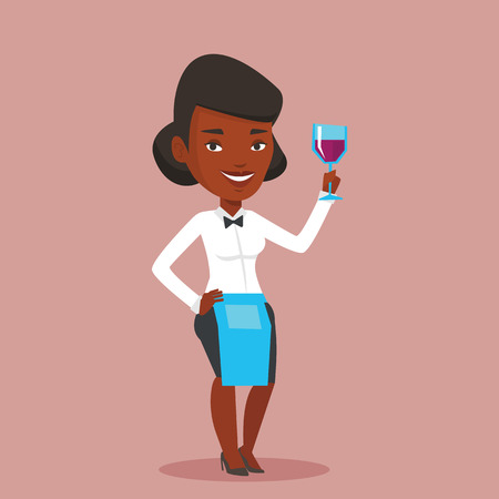 barkeeper: African-american bartender holding a glass of wine in hand. Bartender at work. Waitress looking at glass of red wine. Bartender examining wine in glass. Vector flat design illustration. Square layout. Illustration