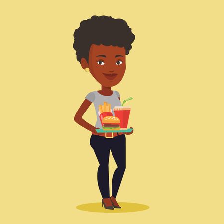 deep fried: An african-american woman holding tray with fast food. Young smiling woman having a lunch in a fast food restaurant. Happy woman with fast food. Vector flat design illustration. Square layout.