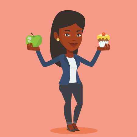 An african woman holding apple and cupcake in hands. Woman choosing between apple and cupcake. Concept of choice between healthy and unhealthy nutrition. Vector flat design illustration. Square layout Иллюстрация