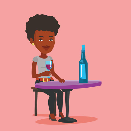 woman drinking wine: Young woman sitting at the table with glass and bottle of wine. African-american woman drinking wine at restaurant. Woman enjoying a drink at wine bar. Vector flat design illustration. Square layout. Illustration