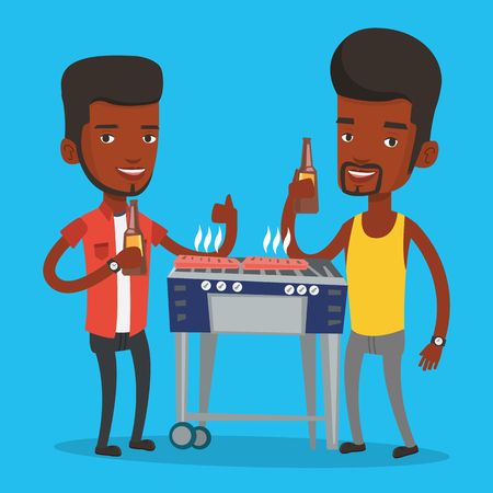 friends having fun: Friends preparing barbecue and drinking beer. Group of friends having fun at a barbecue party. Smiling african-american friends having a barbecue party. Vector flat design illustration. Square layout.