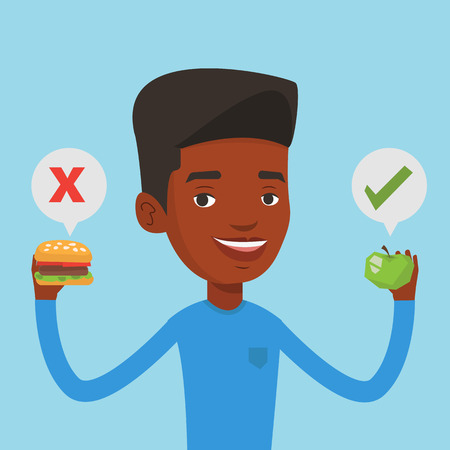 choosing: An african man holding apple and hamburger in hands. Man choosing between apple and hamburger. Man choosing between healthy and unhealthy nutrition. Vector flat design illustration. Square layout.