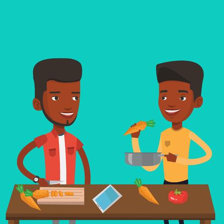 Los hombres que se divierten cocinando comida juntos saludable. sonriente hombres jóvenes que se preparan harinas vegetales. Se hombres afroamericana feliz cocinar la comida de verduras saludables. Vector de diseño plano ilustración. de planta cuadrada.