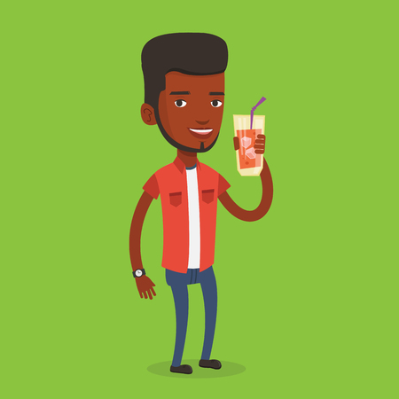 nonalcoholic: An african-american smiling man holding cocktail glass with drinking straw. Joyful man drinking a cocktail. Young happy man celebrating with a cocktail. Vector flat design illustration. Square layout. Illustration