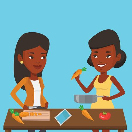 pareja comiendo: Mujeres que se divierten cocinando comida juntos saludable. sonriendo a las mujeres jóvenes que se preparan harinas vegetales. Las mujeres afroamericanas de cocina comida de verduras saludables. Vector de diseño plano ilustración. de planta cuadrada.