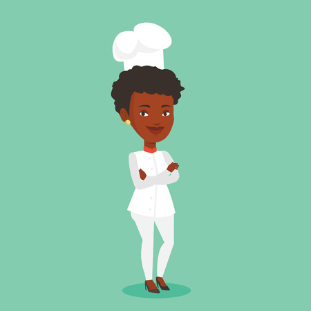 Cheerful chief cook in uniform and hat standing with arms crossed. Young african-american chef cook. Full length of confident female chief cook. Vector flat design illustration. Square layout.