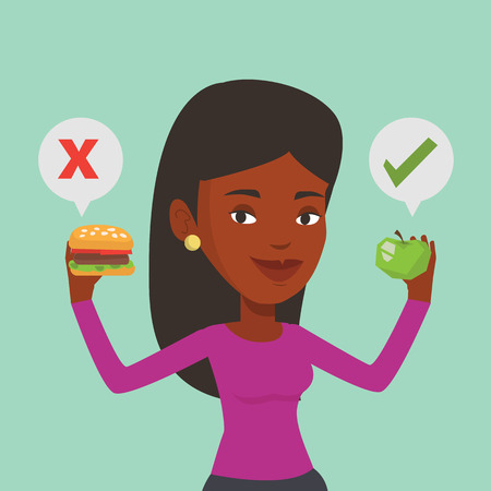 African woman holding apple and hamburger in hands. Woman choosing between apple and hamburger. Woman choosing between healthy and unhealthy nutrition. Vector flat design illustration. Square layout.