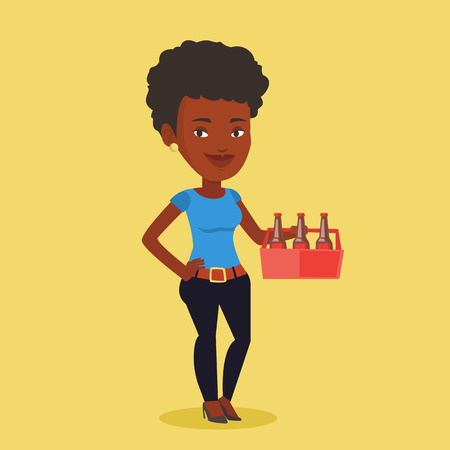 six pack: Young happy woman holding pack of beer. Full length of cheerful woman carrying a six pack of beer. Vector flat design illustration. Square layout. Illustration