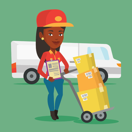 An african-american delivery courier with cardboard boxes on troley. Young delivery courier holding clipboard. Courier standing in front of delivery van. Vector flat design illustration. Square layout Illustration