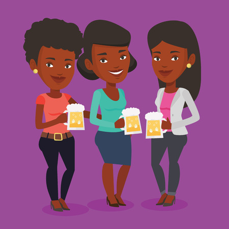 clinking: Women toasting and clinking glasses of beer. An african women clanging glasses of beer. Women drinking beer. Vector flat design illustration. Square layout.