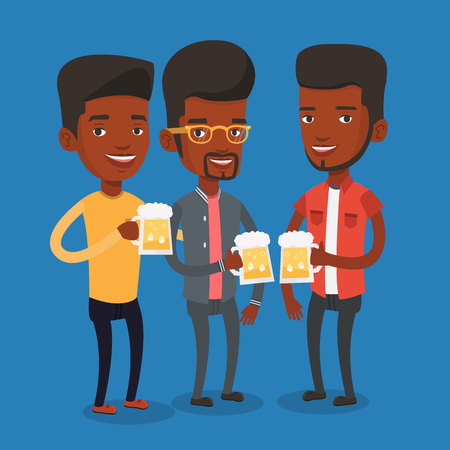 Men toasting and clinking glasses of beer. An african-american men clanging glasses of beer. Group of friends enjoying a beer at pub. Vector flat design illustration. Square layout.