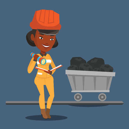 coal mine: An african-american miner checking documents with the flashlight on the background of trolley with coal. Mine worker in hard hat. Miner in the coal mine. Vector flat design illustration. Square layout