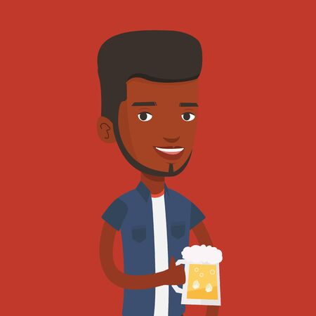 clinking: Young african-american man celebrating with beer. Smiling man holding a big glass of beer. Full length of male beer fan. Vector flat design illustration. Square layout.