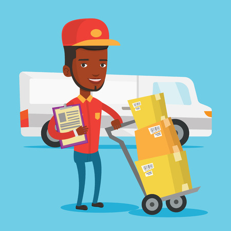 troley: An african-american delivery courier with cardboard boxes on troley. Young delivery courier holding clipboard. Courier standing in front of delivery van. Vector flat design illustration. Square layout Illustration