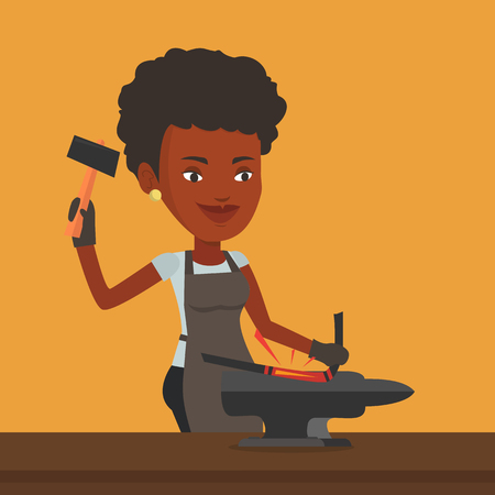 hot woman: An african blacksmith working metal with hammer on the anvil in the forge. Blacksmith at work in smithy. Blacksmith forging the molten metal on anvil. Vector flat design illustration. Square layout.