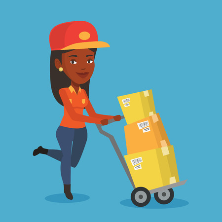 An african delivery postman with cardboard boxes on trolley. Delivery postman pushing trolley with cardboard boxes. Delivery postman delivering parcels. Vector flat design illustration. Square layout. Illustration
