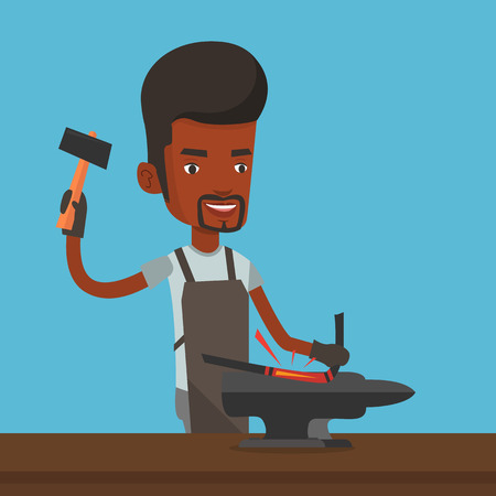 blacksmith: An african blacksmith working metal with hammer on the anvil in the forge. Blacksmith at work in smithy. Blacksmith forging the molten metal on anvil. Vector flat design illustration. Square layout.