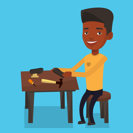 cobbler: An african-american shoemaker working with a shoe in workshop. Shoemaker repairing a shoe in workshop. Young shoemaker making handmade shoes in workshop. Vector flat design illustration. Square layout