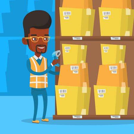 An african warehouse worker scanning barcode on box. Warehouse worker checking barcode of boxes with a scanner. Warehouse worker working with a scanner. Vector flat design illustration. Square layout. Illustration