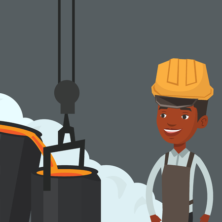 smelting plant: African steelworker in a hardhat at work in the foundry. Steelworker controlling iron smelting in the foundry. Industrial worker in steel making plant. Vector flat design illustration. Square layout