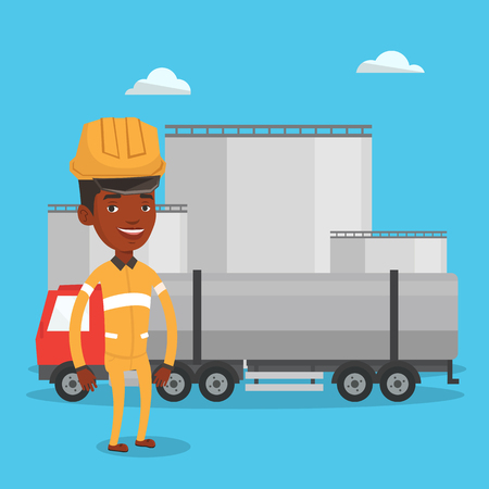 African refinery worker of oil and gas industry. Worker standing on the background of fuel truck and oil refinery plant. Man working at refinery plant. Vector flat design illustration. Square layout. Illustration