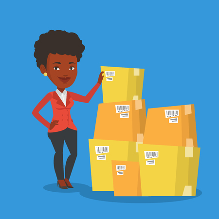 An african businesswoman working in warehouse. Businesswoman checking boxes in warehouse. Young business woman preparing goods for dispatch in warehouse. Vector flat design illustration. Square layout