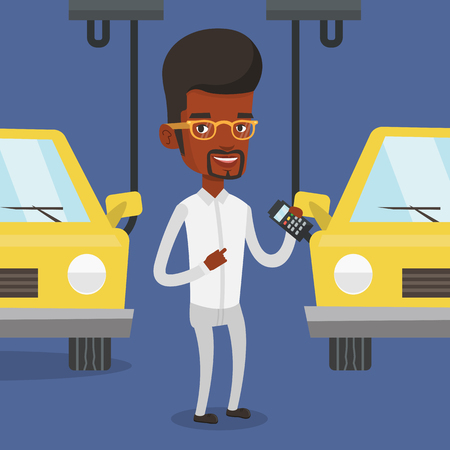 controlling: An african-american worker of car factory. Engineer at work on car factory. Worker controlling modern automated assembly line for cars. Car production. Vector flat design illustration. Square layout. Illustration